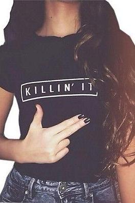 T-shirt Cotton Women Killin It Short Sleeve tshirt New Fashion Tops White Black