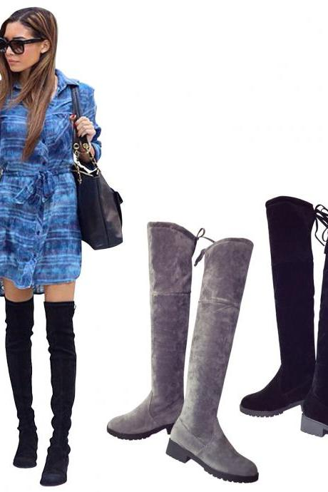 Faux Suede Rounded-Toe Chunky Heel Over-The-Knee Boots