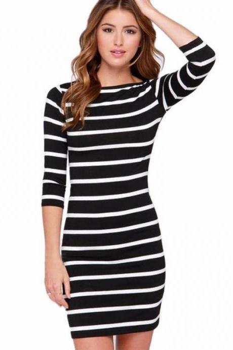 Black and White Striped Quarter Sleeved Short Bodycon Dress