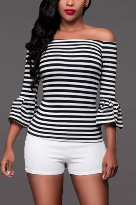 Black White Stripes Off-The-Shoulder Long Flared Sleeves Top