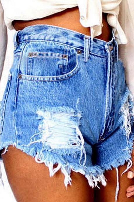 Heavily Distressed and Frayed Hem High Waisted Denim Shorts Featuring Pockets