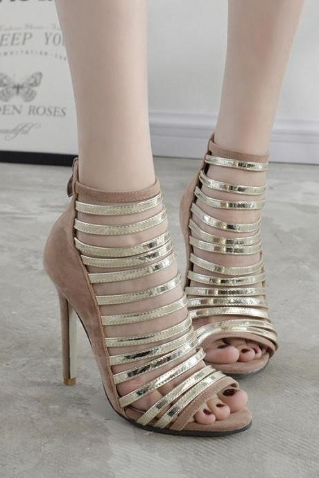 Strappy High Heels Gold Silver Sandals