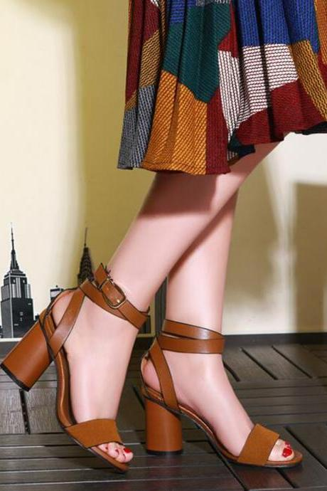 Round Chunky High Heel Leather Sandals with Ankle Wrap Straps