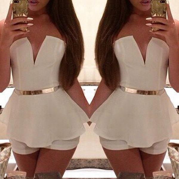 Sexy Women Clothes Cocktail Party Bandage Bodycon Jumpsuit Dress Clubwear Shorts