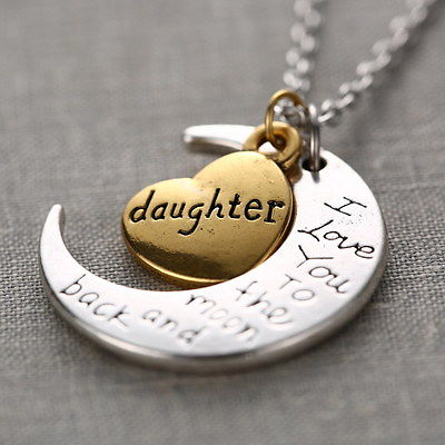 """I LOVE YOU TO THE MOON AND BACK ""DAUGHTER Crescent Moon Necklace Pendant Gold/Silver"