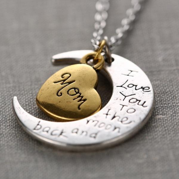 New MOM I LOVE YOU TO THE MOON AND BACK Necklace Pendant Gold/Silver Mother Gift