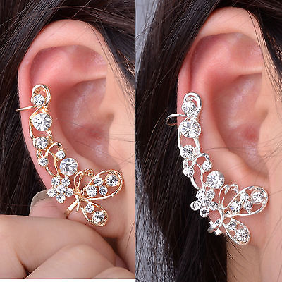 Retro Crystal Butterfly Flower Clip Ear Cuff Stud Earring Wrap Girl Jewelry Gift