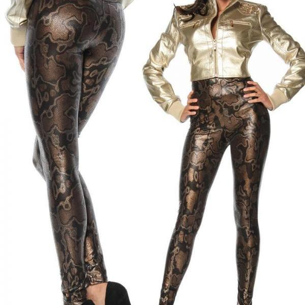 Snake Print High Waist Costume Stretchy Leggings Womens Fashion Tight Pants