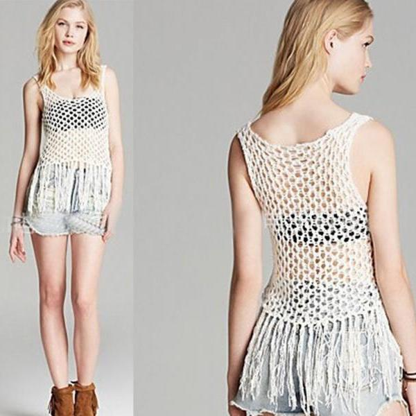 Women Knitted Embroidery Crochet Tank Cropped blouse peplum crop top Cover up