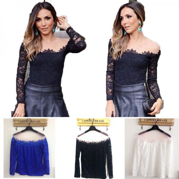 New Fashion Womens Sexy Off-Shoulder Long Sleeve Lace T-Shirt Blouse Slim Tops A