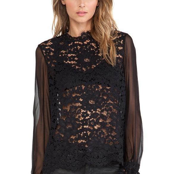 New Fashion Women's Ladies Elegant Long Sleeve Sexy Hollow Out Lace Chiffon Tops Blouse Shirt DL