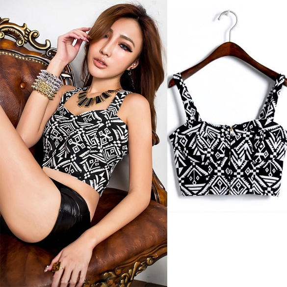 New Womens Ladies Beautiful Sexy Printed Zipper Front Crop Top DL