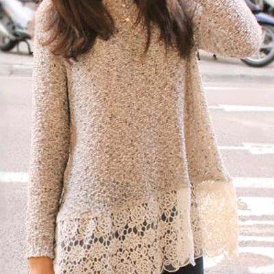 Fashion O Neck Long Sleeves Lace Patchwork Apricot Cotton Blend Regular Pullover Sweater