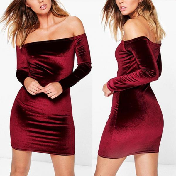 Velvet Off-The-Shoulder Long Sleeve Mini Bodycon Dress